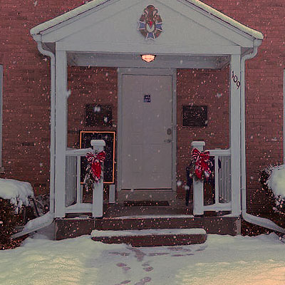 A snowy day at the front door of Vasa Archives in Bishop Hill, Il