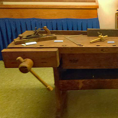 Antique work bench on display at Vasa Archives in Bishop Hill, Illinois
